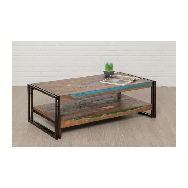 Table low double trays rectangular vintage NOAH massive teak recycled and metal (120x60x40cm) - image 36303