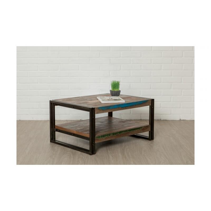 Tisch niedrig Doppel Tabletts rechteckig Vintage NOAH massiven Teak recycelt und Metall (80x60x40cm)
