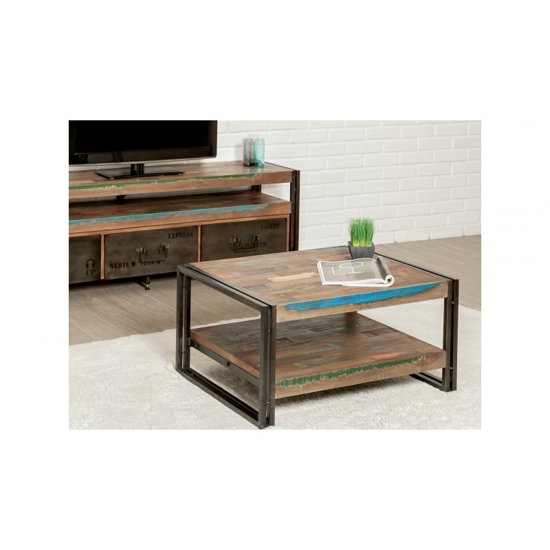 Table low double trays rectangular vintage NOAH massive teak recycled and metal (80x60x40cm) - image 36307
