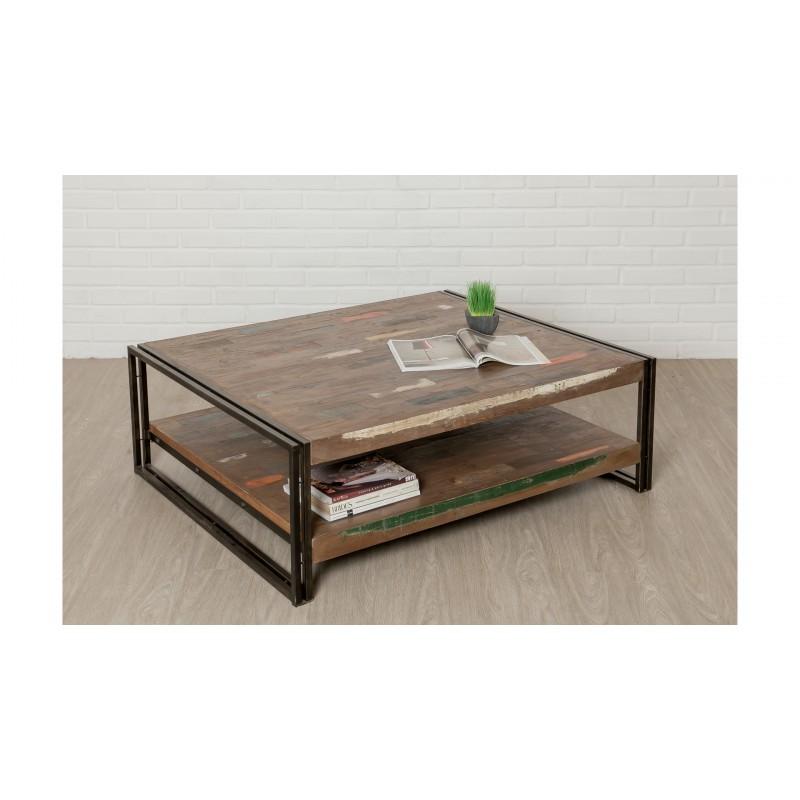 Table basse double plateaux rectangulaire vintage NOAH en teck massif recyclé et métal (120x100x40cm)