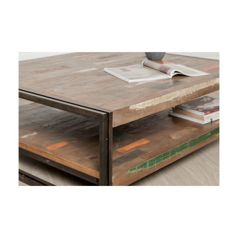 Table low double trays rectangular vintage NOAH massive teak recycled and metal (120x100x40cm) - image 36311