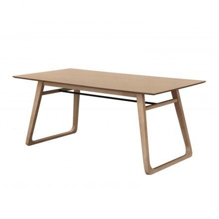 Dining table contemporary LEANA in wood and metal (180X90X75cm) (light oak)