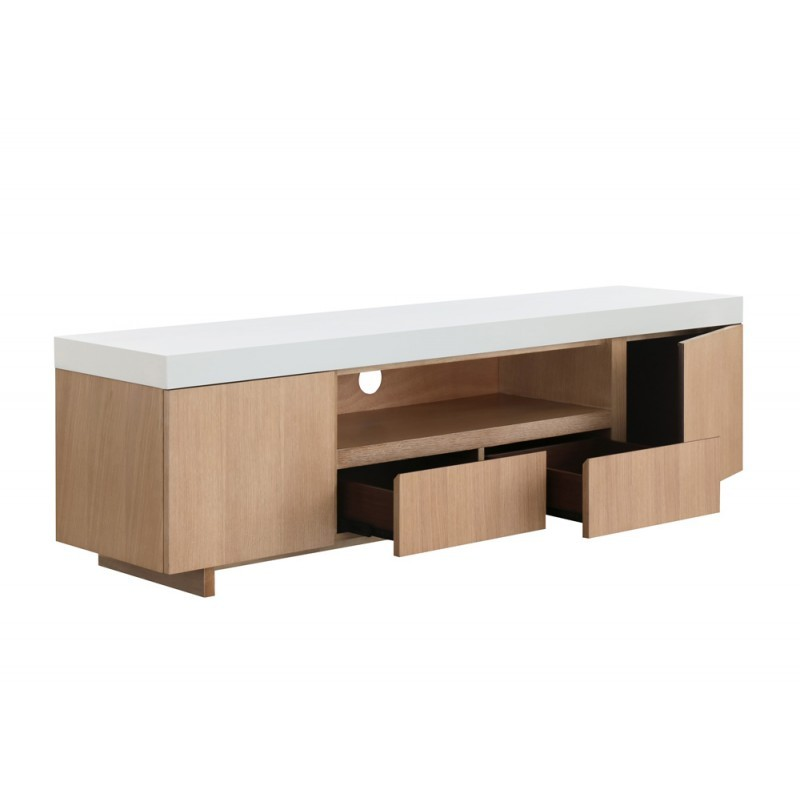 Furniture 2 doors 1 low TV niche 2 drawers contemporary and design EMMA wooden 170 cm (clear, white oak) - image 36344