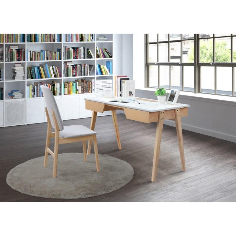 bureau droit design et scandinave timeo en bois 120 cm ch ne clair blanc. Black Bedroom Furniture Sets. Home Design Ideas
