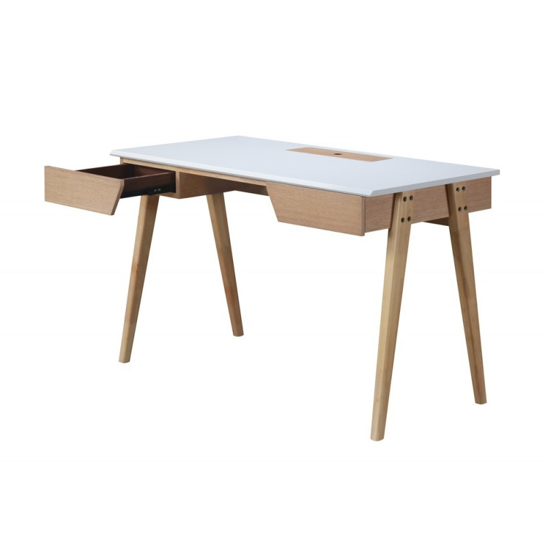 Right office design and Scandinavian TIMEO wooden 120 cm (clear, white oak) - image 36351