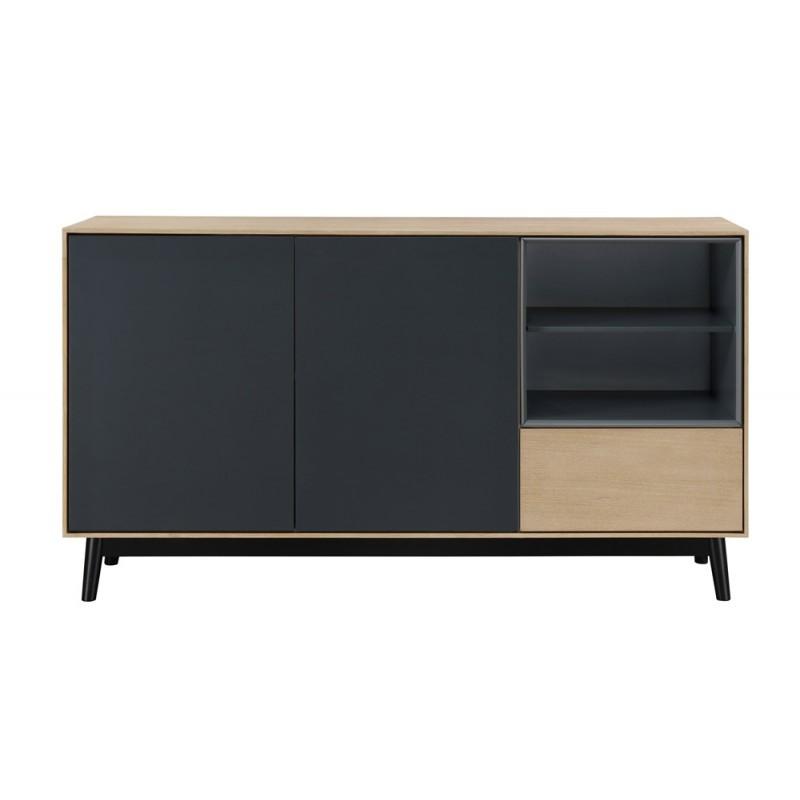 Buffet enfilade design 2 portes 2 niches 1 tiroir ADAMO en bois 150 cm (chêne clair) - image 36358