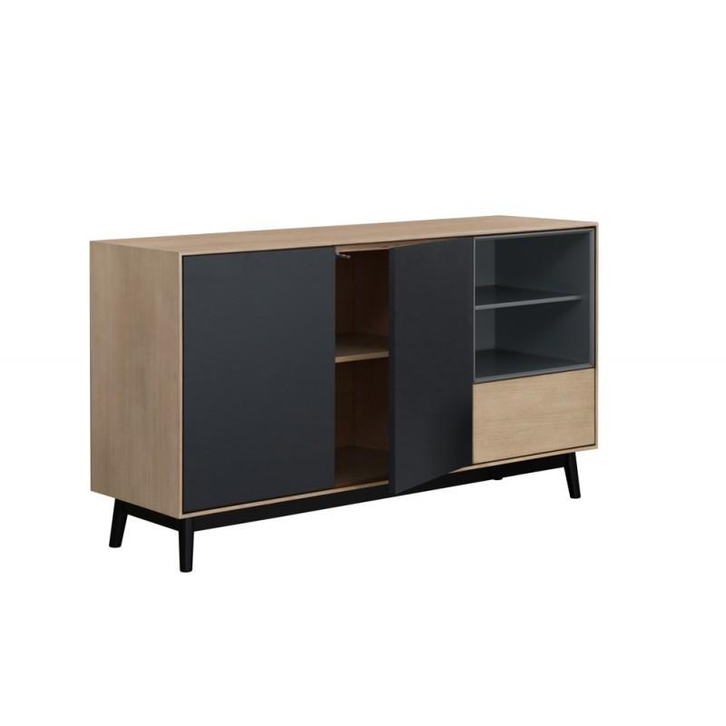 Buffet enfilade design 2 portes 2 niches 1 tiroir ADAMO en bois 150 cm (chêne clair) - image 36362