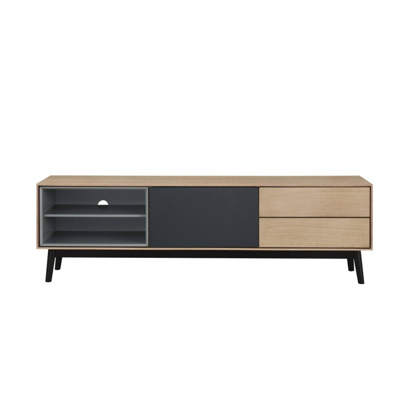 Furniture design low TV 2 niches 1 door 2 drawers ADAMO wooden (light oak) - image 36370