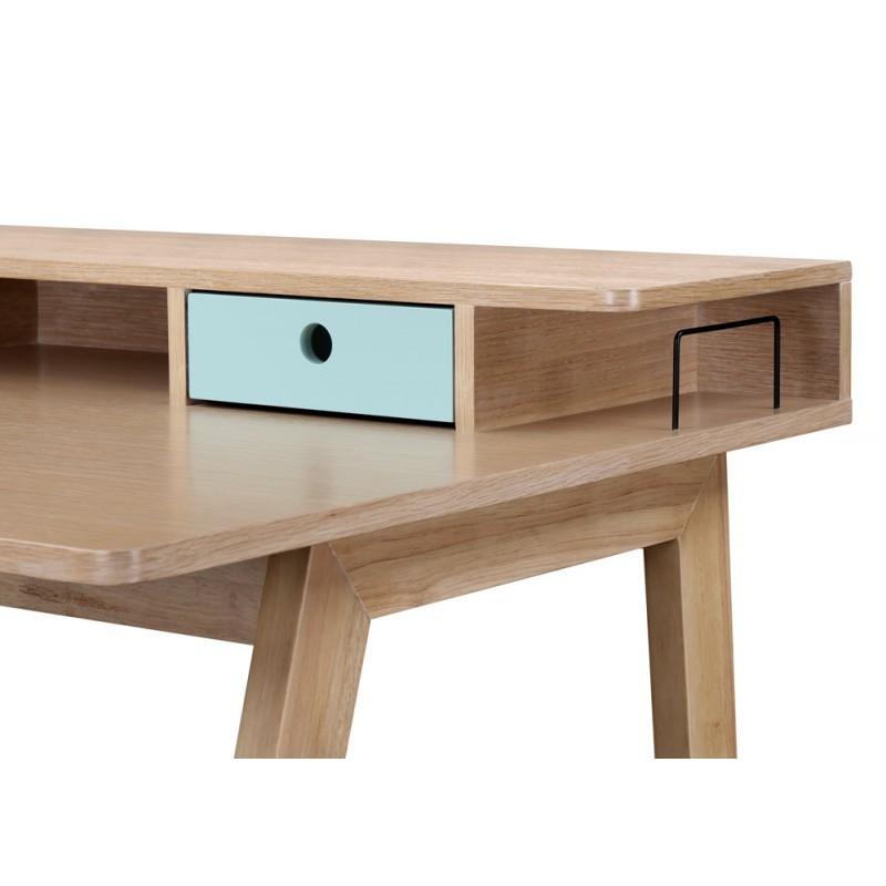 Scandinavian design office FLAVIE wooden (oak clear, blue) - image 36378