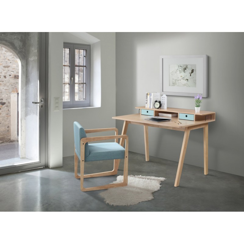 bureau design scandinave flavie en bois chne clair bleu - Bureau Design Scandinave