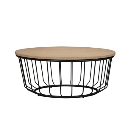 Coffee table round design MICHOU wood and metal (clear, Black Oak)