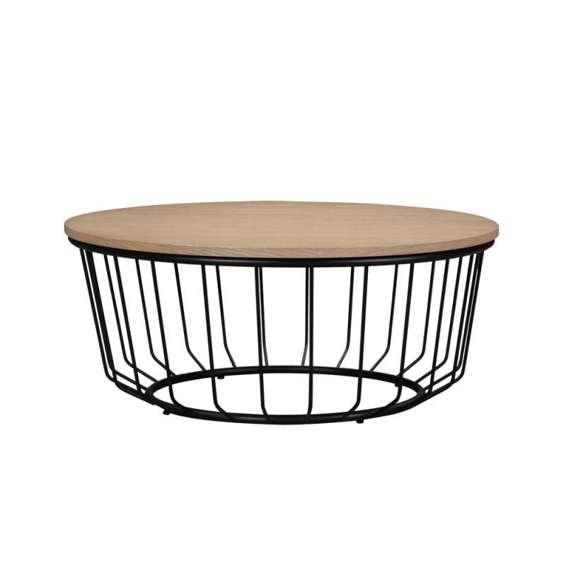 Mesa de centro redonda diseño madera MICHOU y metal (claro, roble negro) - image 36381