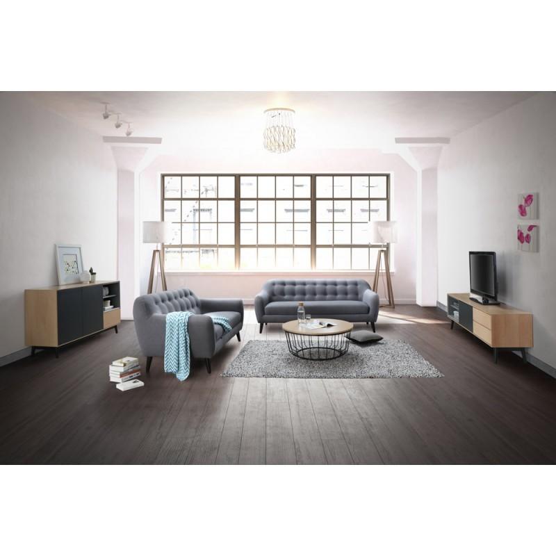 Mesa de centro redonda diseño madera MICHOU y metal (claro, roble negro) - image 36383