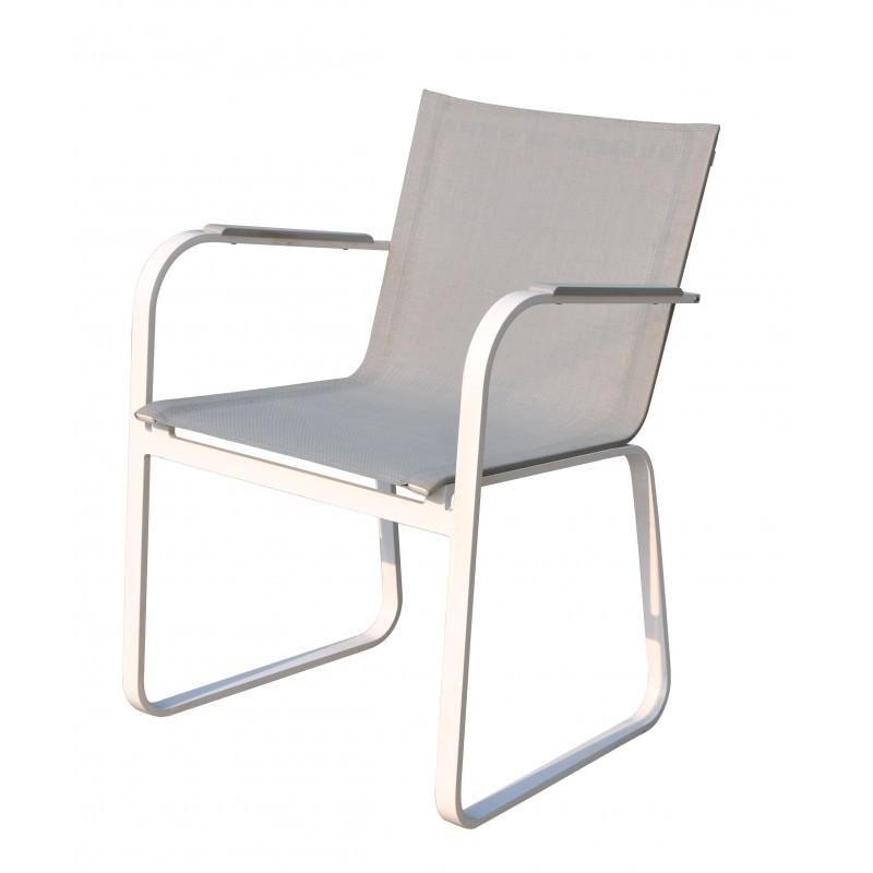 Esstisch und 8 Stühle TASHA in Textylen und Aluminium (hellgrau) - image 36425