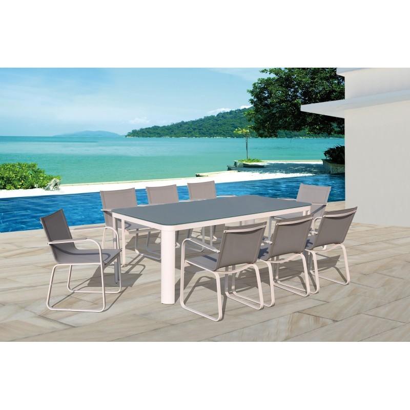Esstisch und 8 Stühle TASHA in Textylen und Aluminium (hellgrau)