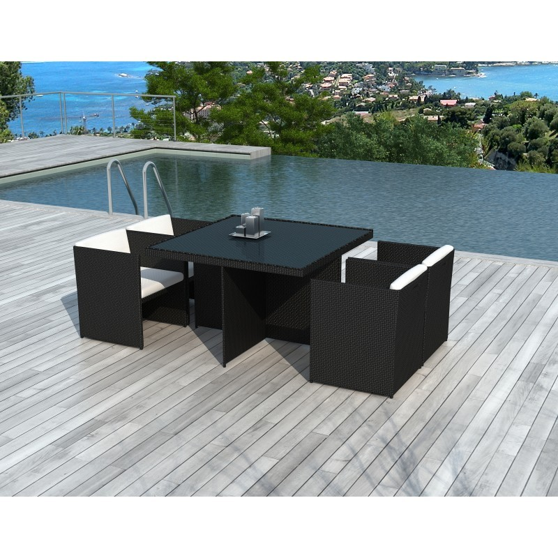 Dining table and 4 chairs built-in Garden KRIBOU in woven resin (black, white/ecru cushions) - image 36432