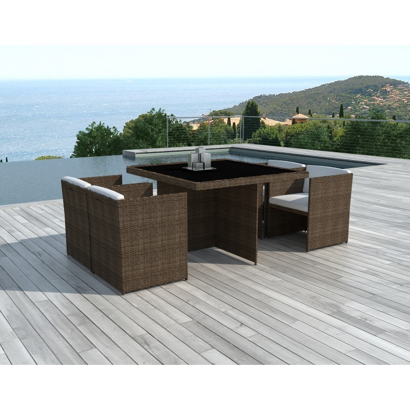 Dining table and 4 chairs built-in Garden KRIBOU in resin braided (Brown, white/ecru cushions) - image 36434