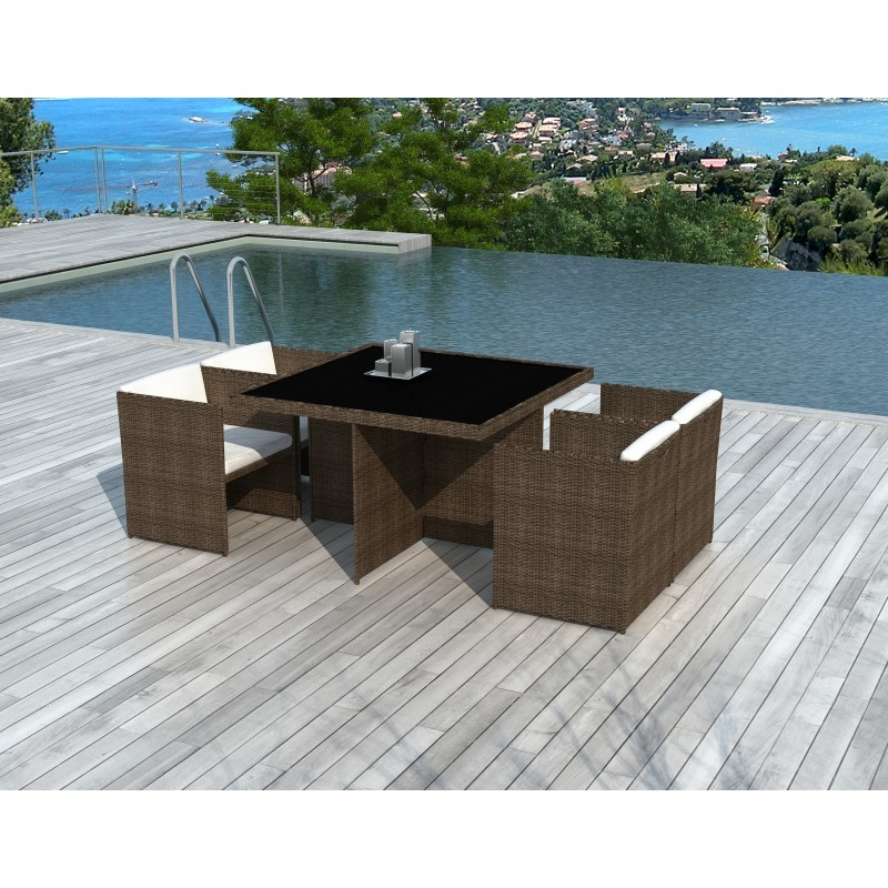 Dining table and 4 chairs built-in Garden KRIBOU in resin braided (Brown, white/ecru cushions) - image 36435