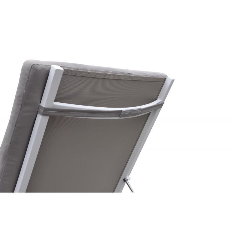 Bain de soleil transat 4 positions  STAS en textilène et aluminium (blanc, taupe) - image 36439