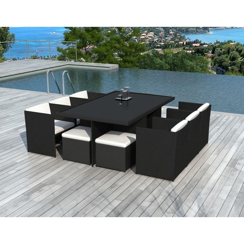 Giardino camera 10 posti ÚBEDA incorporato in resina intrecciata (neri, bianco/ecru cuscini) - image 36441