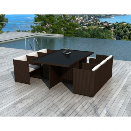 Dining table and 6 chairs built-in Garden KRIBOU in resin braided (Brown, white/ecru cushions)