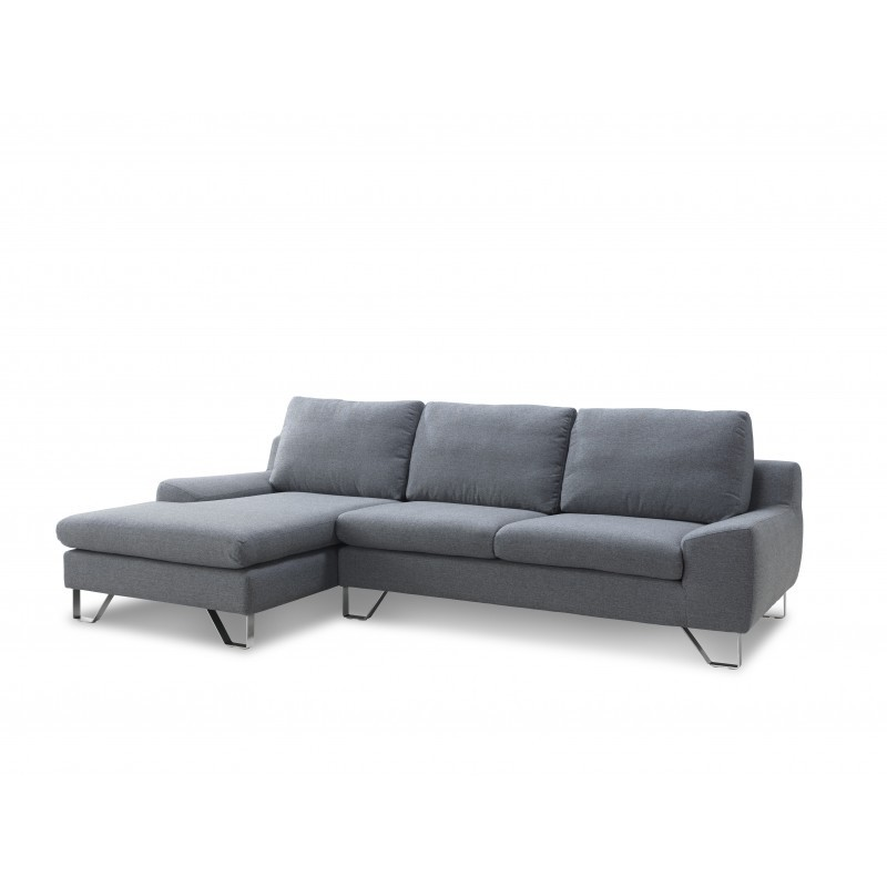 Corner sofa design left 3 places with VLADIMIR chaise in fabric (grey) - image 36450