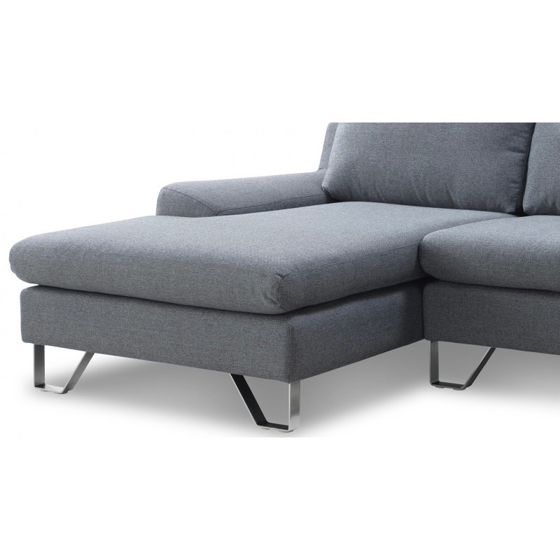 Corner sofa design left 3 places with VLADIMIR chaise in fabric (grey) - image 36454