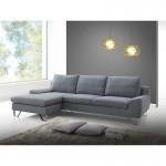 Canapé d'angle côté Gauche design 3 places avec méridienne VLADIMIR en tissu (gris)