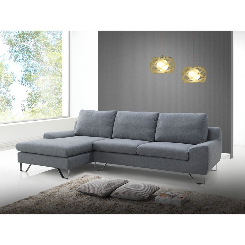 Corner sofa design left 3 places with VLADIMIR chaise in fabric (grey) - image 36456