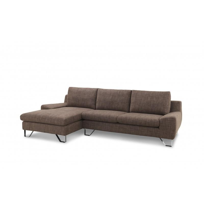 Ecke Sofa Design links 3 Plätze mit VLADIMIR Chaise in Stoff (braun)