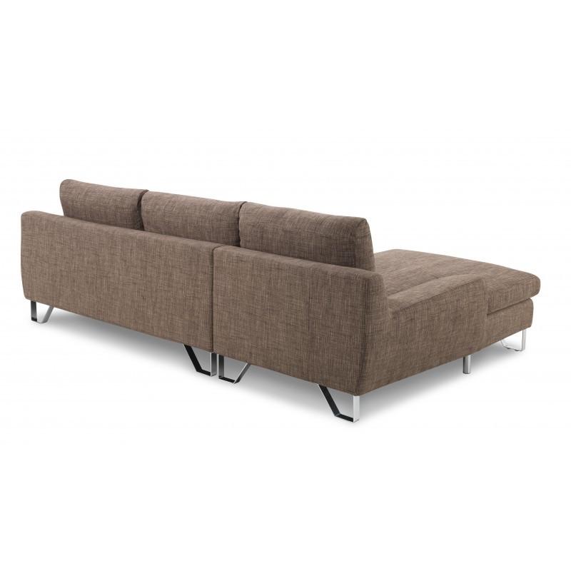 Canapé d'angle côté Gauche design 3 places avec méridienne VLADIMIR en tissu (marron) - image 36458