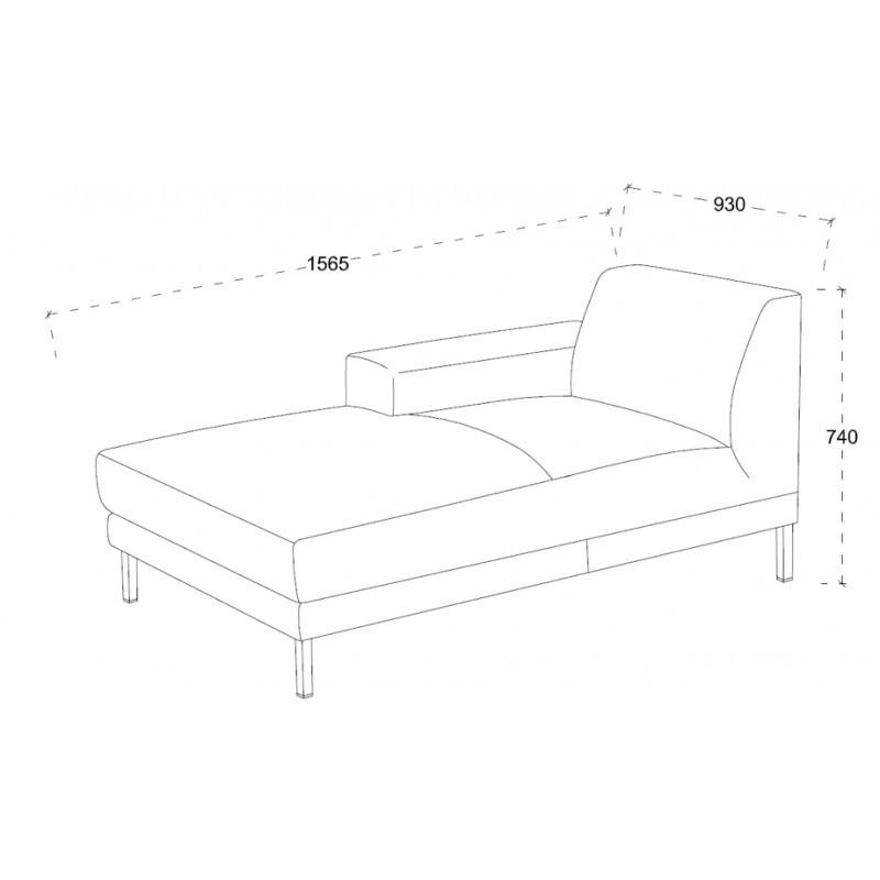 Ecke Sofa Design links 3 Plätze mit ROSANA Chaise in Stoff (grau) - image 36467