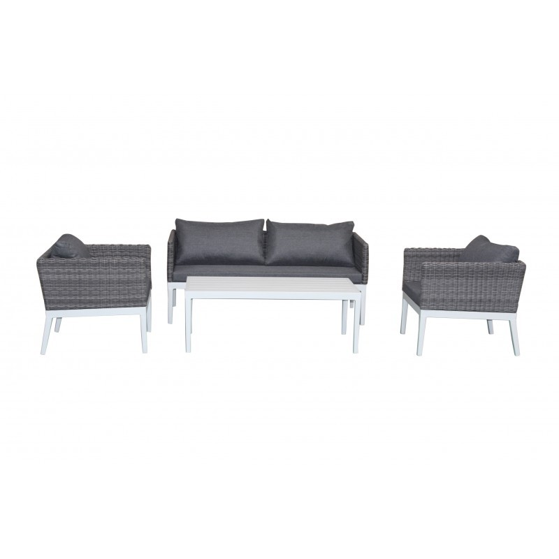 Garden furniture 4 seater PAMELA woven resin (white, grey cushions) - image 36528