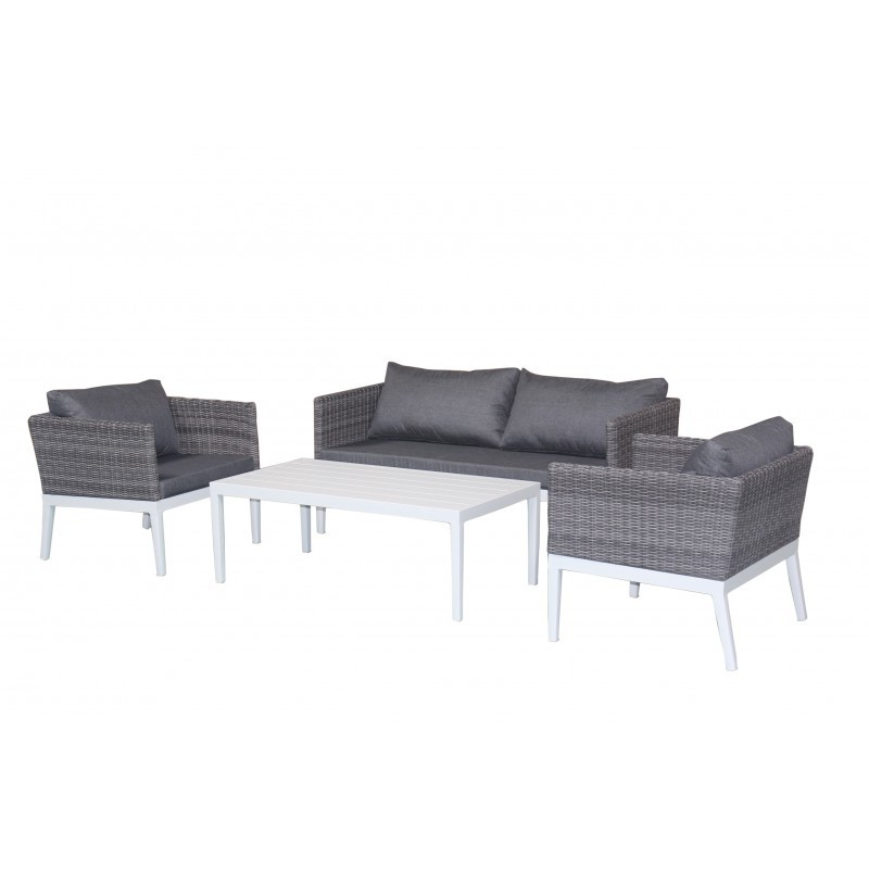 Garden furniture 4 seater PAMELA woven resin (white, grey cushions) - image 36529