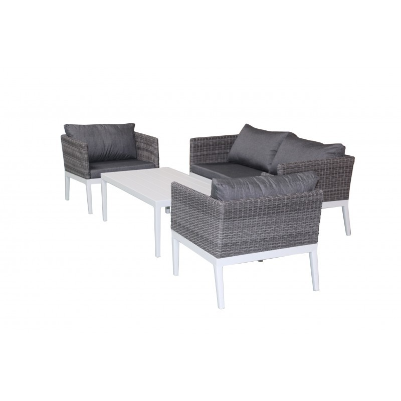 Garden furniture 4 seater PAMELA woven resin (white, grey cushions) - image 36530