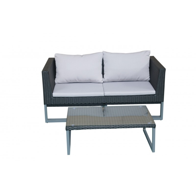 Garden furniture 4 seater LAZAR woven resin (black, grey cushions) - image 36536