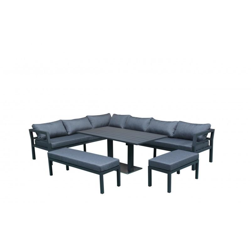 Garden Room 12 places NESTOR (gray) aluminum - Garden Lounge