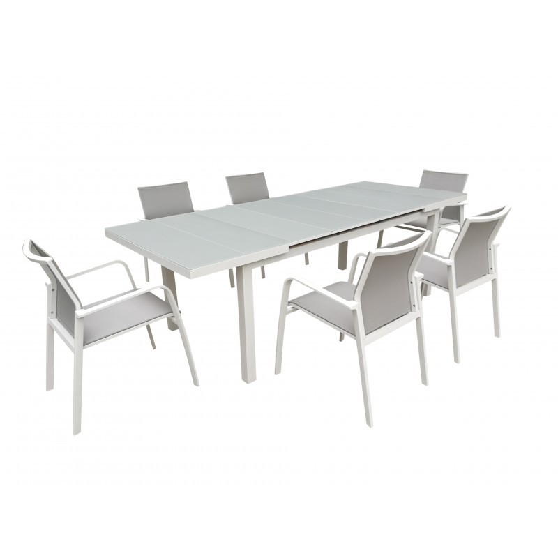 table manger extensible 10 12 personnes mitron en aluminium blanc. Black Bedroom Furniture Sets. Home Design Ideas
