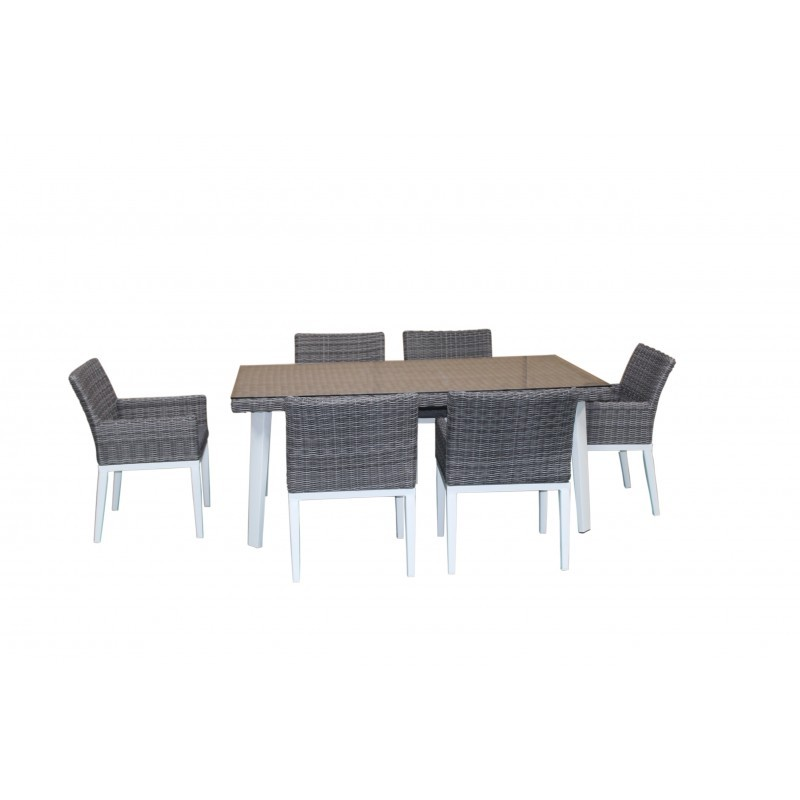 Terrific Dining Table And 6 Chairs Garden Built In Luka Braided Resin And Aluminum White Gray Garden Lounge Bralicious Painted Fabric Chair Ideas Braliciousco
