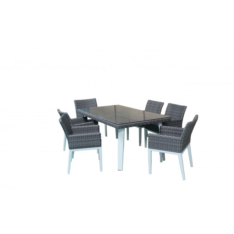 Dining table and 6 chairs garden built-in LUKA braided resin and aluminum (white, gray) - image 36550