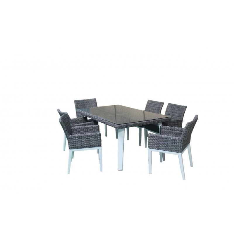 Table à manger et 6 fauteuils de jardin encastrable LUKA en résine tressée et aluminium (blanc, gris) - image 36550