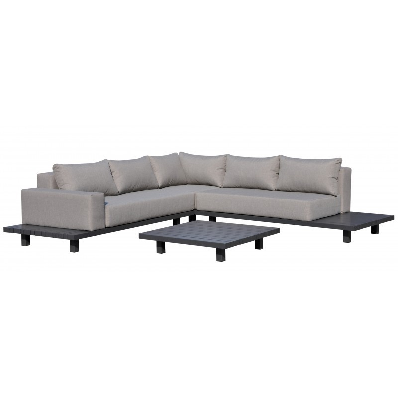 Gartenmöbel 6 Sitzer LUBIN Aluminium (Anthrazit, Kissen Maulwurf) - image 36555