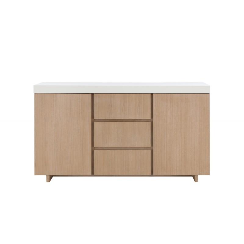 Buffet la fila 2 puertas, 3 cajones diseño y EMMA escandinavo madera (roble claro, de blanco) - image 36576