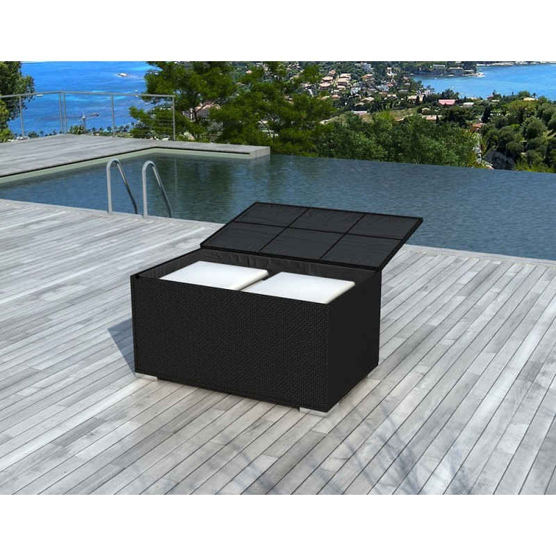 Chest BOX storage in woven resin (black)