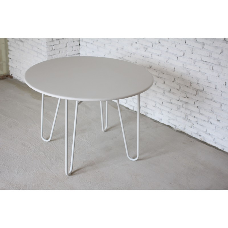 Dining table round PAVEL (white) painted metal - image 36597