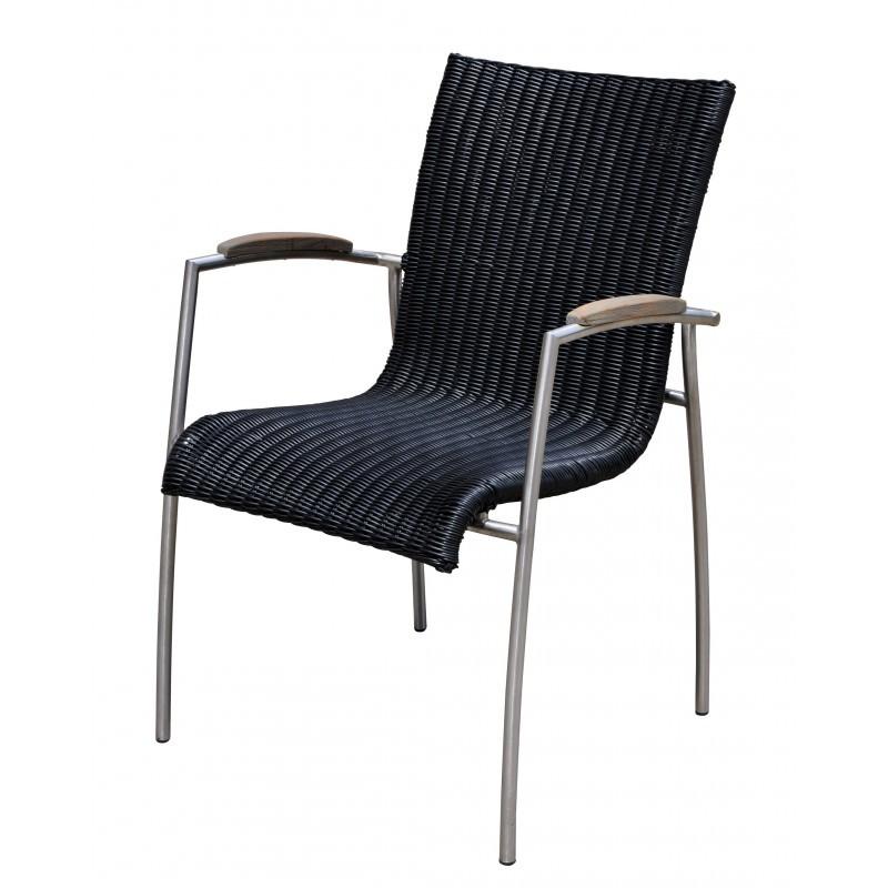 Césped de resina trenzada VOLYA comedor y 6 sillas mesa redonda y la teca (negro natural) - image 36604