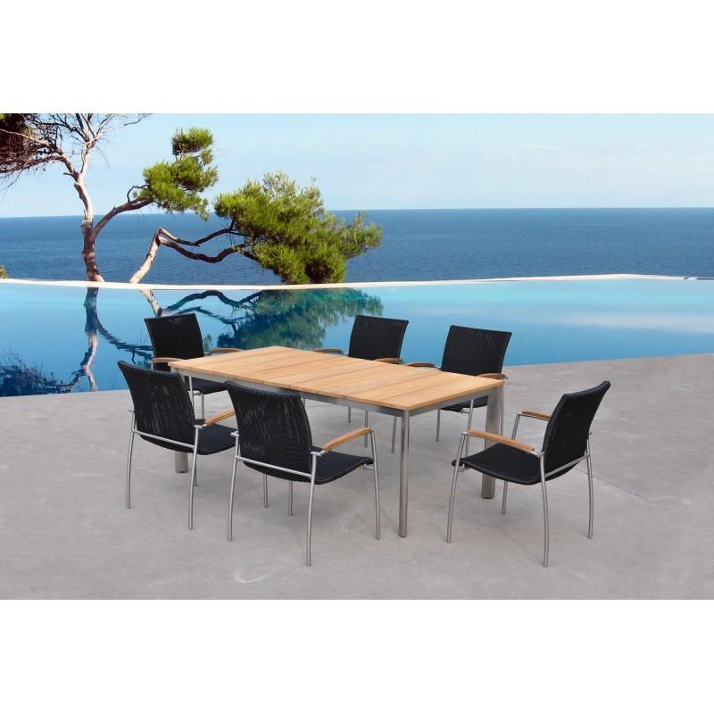 Table à manger et 6 chaises de jardin VOLYA en résine tressée ronde et teck  (noir, naturel) - Salon de jardin