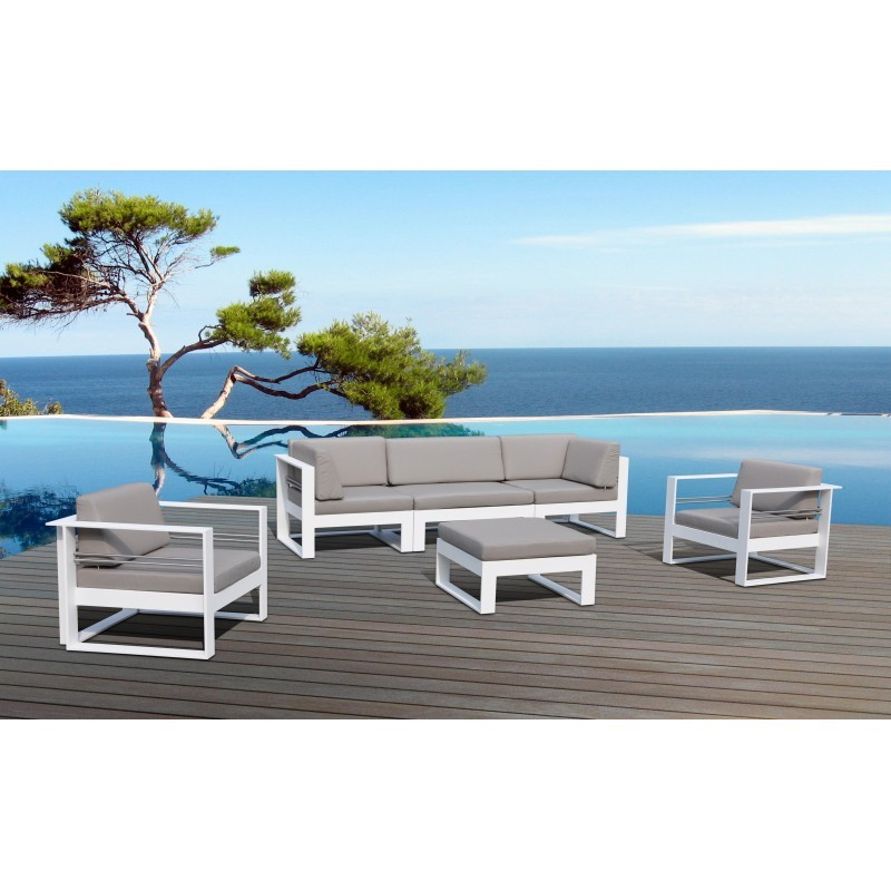 Garden furniture 5 places SVELA fabric and aluminum (mole) - image 36617