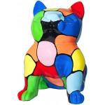 Statue sculpture décorative design CHAT ASSIS en résine H45 (multicolore)