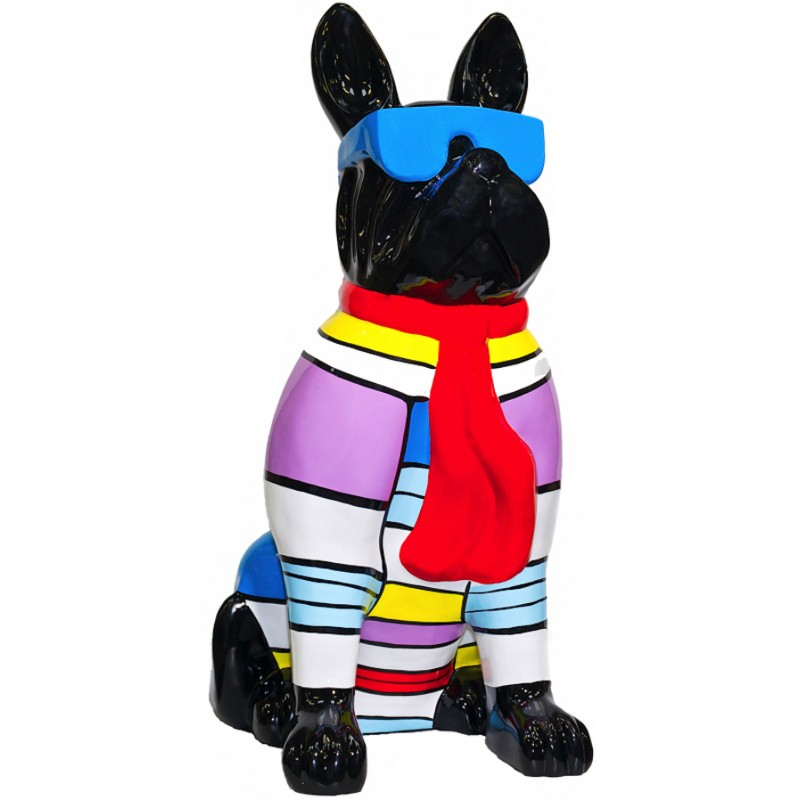 Statuette design decorative sculpture dog sitting H100 in resin (multicolor)